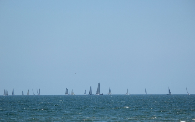 sailboats on the blue Pacific Ocean