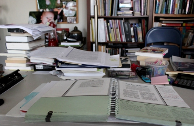 piles and piles of work--letters surround